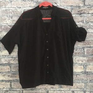 Express top with sheer shoulders/button up sleeve
